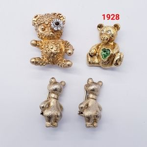 Lot of 4 Vintage Figural Teddy Bear Brooches 1928